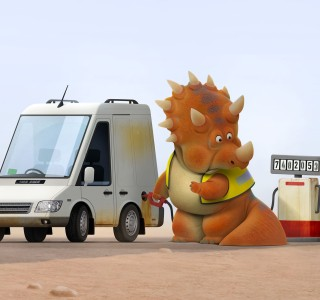 A dinosaur filling up his car with diesel