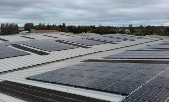 Newly installed solar panels on the roof of a building